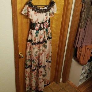 Beautiful floral off the shoulder dress